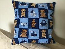 Patchwork Teddies and Dogs children's cushion / pillow cover with cushion pad.