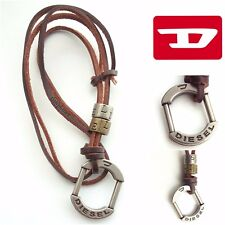 DIESEL Necklace Metal Pendant Urban Lock Leather Silver Designer