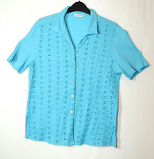 BLUE LADIES CASUAL TOP BLOUSE SHIRT BERKERTEX SIZE 14 EMBROIDERED