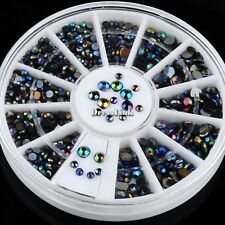 300pcs Nero Cristallo Glitter Strass Perline 3D Nail Art Decorazione Manicure