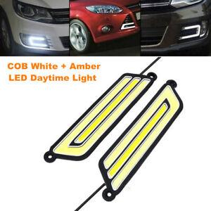 2PCS U Shape COB White+Amber LED Light Car Daytime Driving DRL Lamp Waterproof