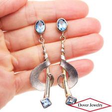 Estate Blue Topaz Sterling Silver Fancy Dangle Drop Earrings 10.9 Grams NR