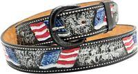 Rindsleder Wechselgürtel Gürtel US Flag Gürtelschnalle Buckle Belt Made in USA