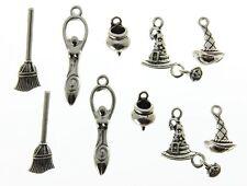AVBeads Pagan Wicca Charms Mixed Set Silver Metal Charms 10pcs Goddess Hat Broom