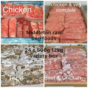 Variety Box Frozen Dog Food 24x 500g bags 12kg box. BARF RAW DIET delivered