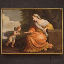 Antico quadro olio su tela con cornice religioso dipinto 700 XVIII secolo arte