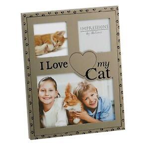 Photo/Picture Frame - Gun Metal Finish - I Love My Cat/Pet