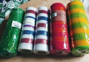 5 Rolls Of 10 Inch Deco Mesh. Wreath Making stripes #9