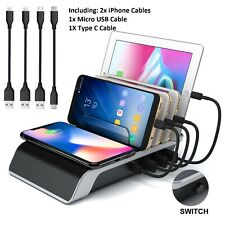 Universal Desktop Charging Station Hub 4 USB Plus QI Wireless Charger Dock Cable