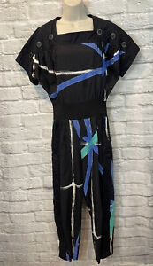 Vintage 80's Jeanne Marc Black Abstract Print Button Detail Jumpsuit Size Small