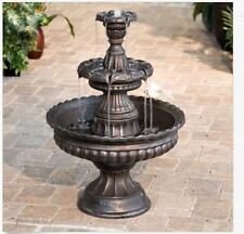 Outdoor Water Fountain 3 Tier Yard Garden Patio Waterfall Bronze Finish Cascade