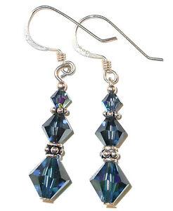 MONTANA Navy Blue Crystal Earrings Bali Sterling Silver Swarovski Elements