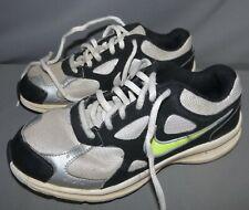 Boys Nike Tennis Shoes Size 4Y Green Swoosh Black Gray Athletic Shoes