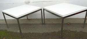 """NICE PAIR OF SIGNED FLORENCE KNOLL CHROME & LAMINATE SIDE TABLES, 24"""" X 24"""""""