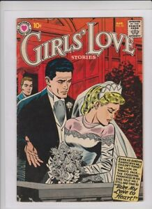 GIRLS' LOVE #53 Fine+, beautiful red wedding cover, DC romance 1958, solid copy