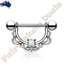 16G 316L Surgical Steel Silver Nipple Ring Shield with Clear CZ Filigree Drop