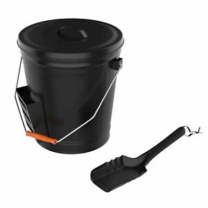 Steel Ash Bucket with Shovel Fireplace Pits or Stoves 4.75 Gallon Tight Lid