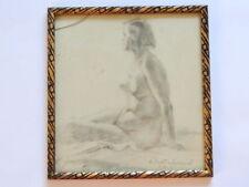 1954 Vintage Antique Art Ukranian Artist Pencil Drawing Picture Nude Woman Frame