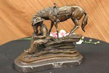 Frederic Remington Western Cowboy Horse Rodeo BRONZE Sculpture SIGND Decorative