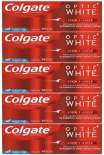 (5) Pack Colgate Optic White Stain Fighter Toothpaste Fresh Mint Gel 4.2 Oz