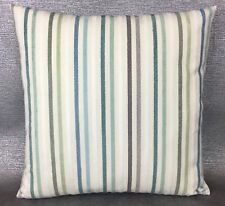 "JOHN LEWIS ""CATALAN STRIPE"" Fabric Cushion Cover 16""x16"" Duck Egg/Blue"