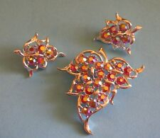 Vintage Sarah Coventry DAZZLING AURORA Red AB Rhinestone Leaf Brooch Earrings