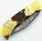 "Handmade Damascus Steel Lock Back Folding Pocket Knife RARE ""Stag Horn Handle"""