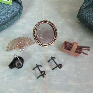 Vtg Dollhouse FIREPLACE ACCESSORY LOT Mirror Artisan Basket 60s Mid Century 1:16