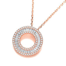 J Jaz DORIT 9ct rosa placcato oro argento 925 zircone cubico Collana con cerchio