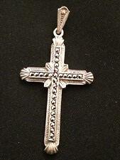 Antico pendente argento 925 croce marcasiti vintage P42
