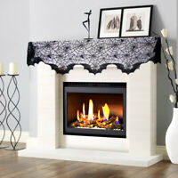 Black Lace Spider Web Fireplace Mantle Scarf Cover Home Supply Halloween Decor