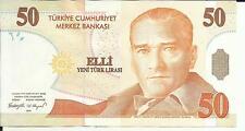 TURKEY 50 LIRA 2005  P 220. aUNC CONDITION. 4RW 11 OCT
