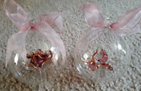 """Lot 2: Clear Glass Ball Ornament w/ Pink Blown Glass Flower Inside 3.5"""" Unique"""