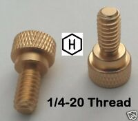 "1/4-20 x 1/2"" Knurled Thumb Screw (10 Pieces) Aluminum Gold Anodized Finish"