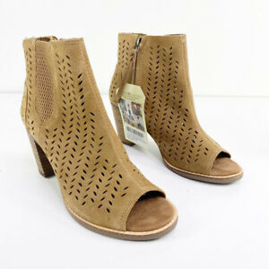 Toms Womens Brown Leather Suede Perforated Leaf Majorca Peep Toe Booties 6.5 NWT