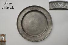 227 Jahre alter Zinnteller 1790 Jh. Ø 22,3  Zinn 540 g gepunzt Klassizismus