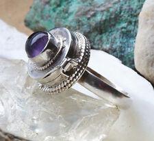 Giftring Silberring 62 Amethyst Dose Lila Handarbeit Silber Ring Verspielt Box