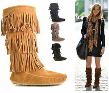 WOMENS LADIES FAUX SUEDE FRINGE TASSLE BOHO STYLE ANKLE PULL ON BOOTS SHOES SIZE