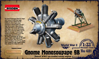 Roden 621 - Engine Gnome Monosoupape 9B For Airco - 1/32 scale model kit 33 mm