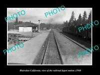 OLD LARGE HISTORIC PHOTO OF BLAIRSDEN CALIFORNIA RAILROAD DEPOT STATION c1940