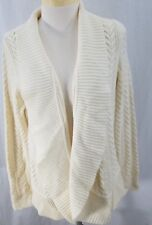 Talbots Womens Open Cardigan Cable Knit Cream Lambswool Blend 1X Petite