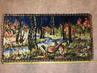 """Vintage Pheasant Forest Italian Wall Tapestry Pheasants 37 1/2""""x20"""" 1965"""