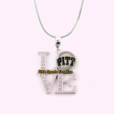 Ncaa Pittsburgh Panthers 925 Sterling Silver Team Love Necklace With Rhinestones