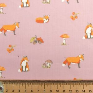 PINK FOXES TOADSTOOLS ACORNS 50 cms x 112cms FABRIC REMNANT POLY COTTON CRAFT