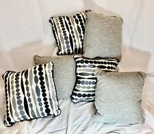 Pillows Decrative20x20  Lot of 6  Polyester Cushions/Pillows Gray and Black NWOT