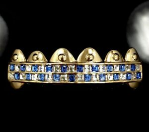 PREMIUM 14k Gold GP Grillz TOP 6 Tooth iced Band HipHop BLUE ice Grill Bling out