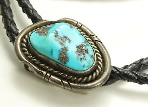 Vintage Navajo SIGNED Sterling Silver Small Turquoise Bolo Tie REPAIR 25.9g