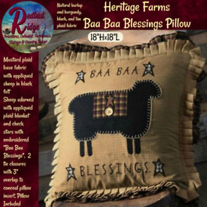 """Primitive Folk Art Heritage Farms Baa Baa Blessings Pillow 18"""" with Insert VHC"""