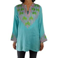 BARBARA GERWIT XL Aqua Embroidery Palm Tree Tunic Linen Beach Coverup Spring Top