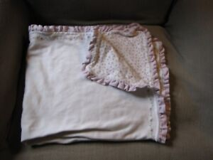Carter's Baby Blanket Purple Bunches of Love Flowers Checked Ruffle Edge Soft